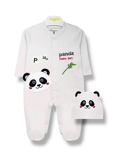 By Leyal For Kids Panda Detaylı Tulum Ve Şapka Takım-8001 Beyaz
